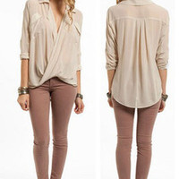 NWT OYSTER SHEER POCKET CHIFFON DEEP V NECK COLLAR LONG Sleeve Top Blouse Tunic