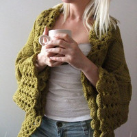 Big Olive Green Cardigan by LoveandKnit on Etsy