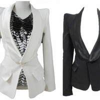 Women Lady Formal VTG Peak Power Sharp Shoulder Tuxedo Coat Suit Blazer Jacket