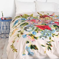 Romantic Floral Scarf Duvet Cover- Ivory