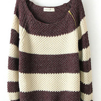 Coffee White Striped Long Sleeve Zipper Sweater