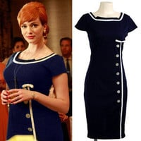 XXS-XXL Mad Men Retro Navy Sailor Nautical Pinup Pencil Dress