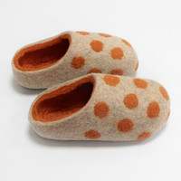 Hand Felted Slippers for Everyone.  Gray with Orange Dots and Orange inside.
