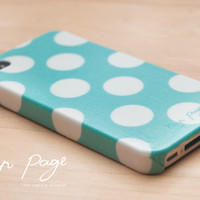 Apple iphone case for iphone iphone 5 iphone 4 iphone 4s iPhone 3Gs : Turquoise polka dots