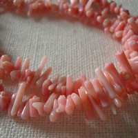 Vintage Jewelry - Coral - Genuine - Light Pink - Beaded - Charming Necklace Handmade