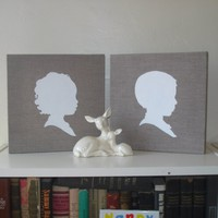 Custom Silhouette Portrait Painting 210 x 10 by LePetitEnfants