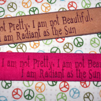 Hunger Games - Radiant as the Sun -  Wrap Cuff Bracelet -  Personalized Quote - FREE Shipping