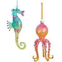 Product Details - Glass Squid & Seahorse Jolly Holiday Ornaments