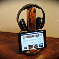 "The ""Twin Leaf Combo"" custom designed wooden docking stand for headphones and iPod, iPhone, or mp3 player"