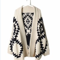 White Geometric Knit Sweater from from: Us to: You