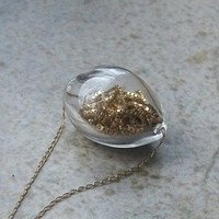 Gold and Glass Gold Filled Trinket Necklace by tarren on Etsy