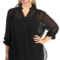 plus size button up top with three quarter sleeves  - debshops.com