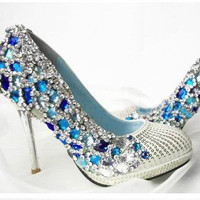 Make to order hand sew princess crystal shoes by Creativesugar