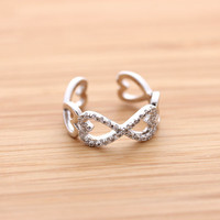 HEART & INFINITY ring with crystals, 2 colors | girlsluv.it