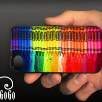 iPhone 4 case Melting Crayola Crayons design custom by aGoGoDesign