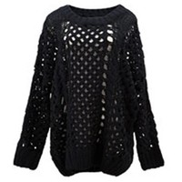 *Free Shipping*Black Women One Size Sweater T963 from MaxNina