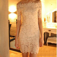Slim Package Hip Collar Lace Dress