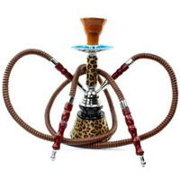 "Amazon.com: Never Exhale TM 10"" Classic 2 Hose Double Hookah Shisha - Mini Portable Leopard Cheetah Print Glass Vase Design w/ Matching Stem Pattern - Pick Your Color (Brown): Health & Personal Care"