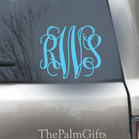 Monogrammed Car Decal - Vinyl Decal - Interlocking Vine Monogrammed Car Decal - Vinyl Decals for your Car 5in from The Palm Gifts