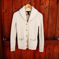 ivory Ralph Lauren cable knit, button down cardigan. size S.