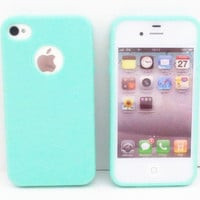 Glossy Skin Mint Green Soft TPU Back Case Cover+LCD Film For iPhone 4G 4S TPU014