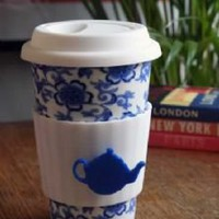 Eco Re-usable Coffee and Tea Lover Cup - Pretty Blue Floral