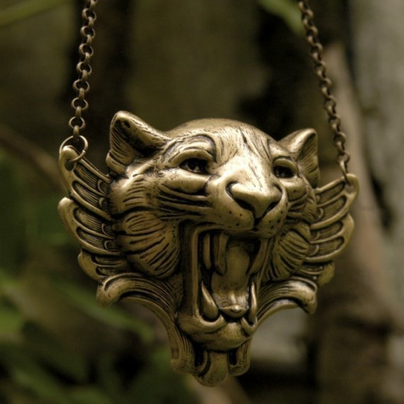 Winged Tiger Necklace In Brass by ragtrader on Etsy