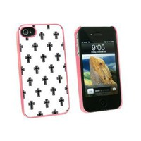 Crosses on Parade Christian Black White - Snap On Hard Protective Case for Apple iPhone 4 4S - Pink