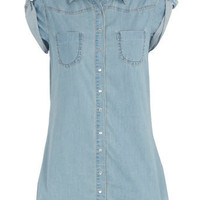 Long-line light wash shirt - Jeans - Clothing - Dorothy Perkins
