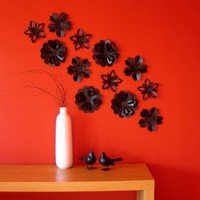 Flower Wall Decor Popup Set of 12 Black Blossoms by StudioLiscious