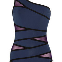 Karla Colletto | Outlines one-shoulder mesh-paneled swimsuit | NET-A-PORTER.COM
