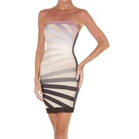 Beige-Multi Strapless Bandage Dress