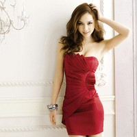 Charming ♡ Wine Mini Strapless Dress