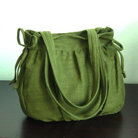 Sale 10% - Forest Green Hemp/Cotton Bag, purse, tote, everyday bag, work bag, shoulder bag,  teens,women - Gail