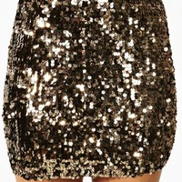 Solid Gold Sequin Skirt