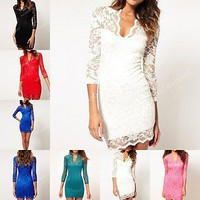 Fashion Women Sexy V-neck Lace Slim Ladies Cocktail Clubbing Mini Party Dress