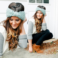 Knit Headband in pale robin egg blue from BglorifiedBoutique or color of your choice