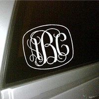 Personalized initials monogram car by uniquevinyldesigns on Etsy