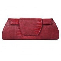 Berry Crocodile Clutch