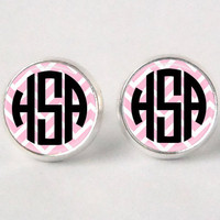 Monogram Stud Earrings - 401 - Chevron