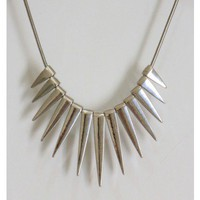 Silver Spike Fringe Necklace