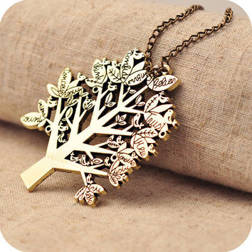 SALE! Bohemian Style Bronze Tree With Small Birds On The Branches Big Pendant Necklace