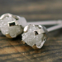 Rough Diamonds in 14k White Gold Earrings