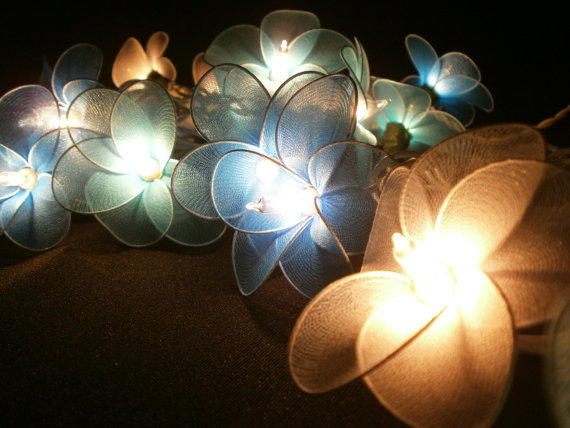 Blue Set tone mixed Hanging Nylon stringlights for party and home decoration indoor and outdoor (20 Flowers/pack)