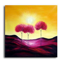 Stretched Handmade Abstract Landscape painting (0192-YCF104257) - $49.79