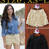 Korean Fashion Womens Sweet Cute Crochet Tiered Lace Skorts Short Pants 1929