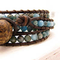 Leather Wrap Gemstone Bracelet with Crystal Pyrite Silk by byjodi