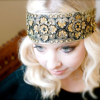 Flapper Style Headband  Black Gold Beaded Sequin Headband - Ready to Ship