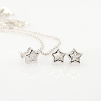 Necklace Earrings Jewelry Set CZ Cute Silver Star GM108