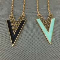 """V"" Shape Alloy Long Chain Necklace  from LOOBACK"